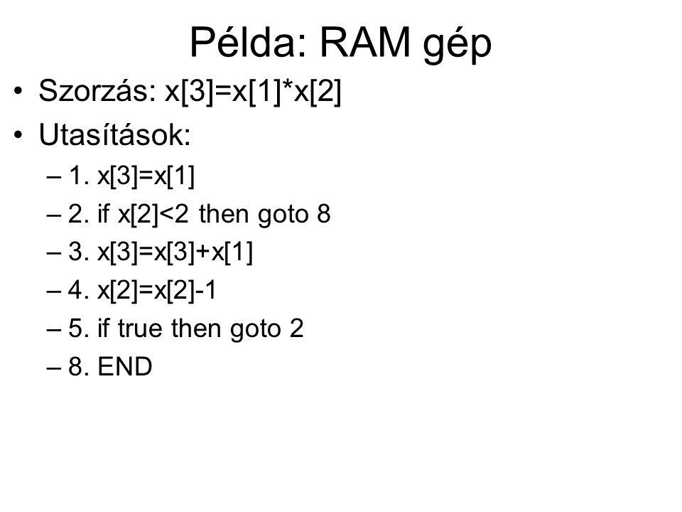 Példa: RAM gép Szorzás: x[3]=x[1]*x[2] Utasítások: 1. x[3]=x[1]